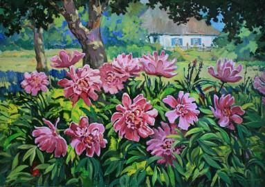 buy paintings, peonies, artist Oleg Mishchenko